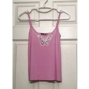 NEW BEJEWELED BUTTERFLY CAMI CAMISOLE LACE CRYSTAL